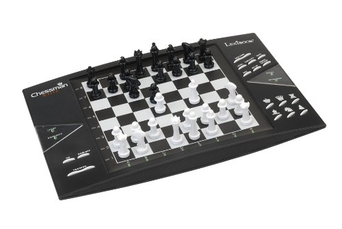 Lexibook CG1300 ChessMan Elite Interactive electronic chess game, 64 levels of difficulty, LEDs, battery powered, black / white