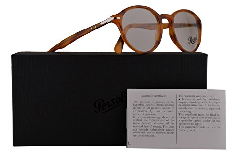Persol PO3162V Calligrapher Edition Eyeglasses 52-20-145 Striped Brown w/Demo Clear Lens 960 PO 3162-V PO3162-V PO - Clear Persol Frame