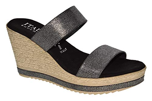 ITALIAN Shoemakers Womens Olyvia Fashion Wedge Espadrille Sandals Made in Italy,Black,7