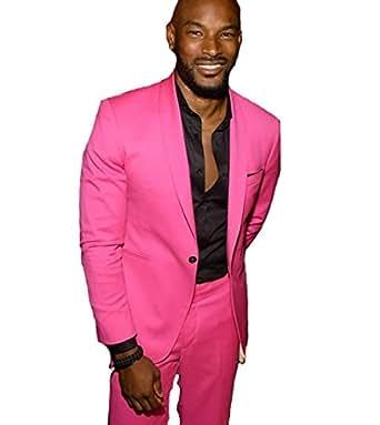Hot Pink Shawl Lapel Casual Men Suit Slim Men's Party