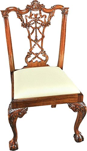 (EuroLuxHome Side Chair Chippendale Pair Carved Mahogany Ribbons Ball and Claw Neutral)