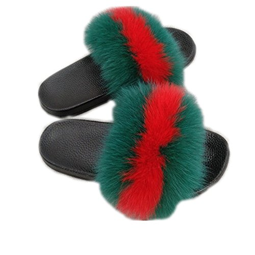 Women Real Fox Fur Feather Vegan Leather Open Toe Single Strap Slip On Sandals Multicolor (8, Green-red) (Girl F Farm)