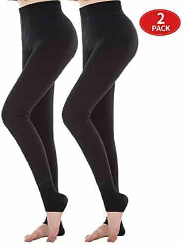 18b59119f8fcd7 Diravo Womens Fleece Lined Leggings Thick Basic Black Soft Elestic Leggings  2 Pack