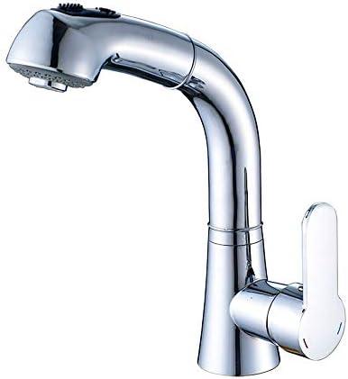 キッチン水栓 商業シングルハンドルワンホール浴室シンク蛇口プルダウン噴霧器ハイエンド浴室備品 キッチンとバスルームに適しています (Color : Silver, Size : 24cm)