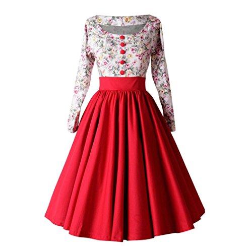 Garden Drop Waist Dress (Victorcn Women Long Sleeve Floral Print Hepburn Vintage Button High-Waist Pleated Dress (L, Red))