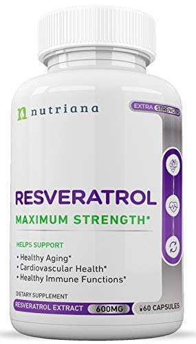 Best Resveratrol Antioxidant Supplement - Resveratrol Capsules - Anti Aging Supplements for Cardiovascular Support and Healthy Aging - 60 Reservatrol Over 500 mg Supplement Capsules by Nutriana