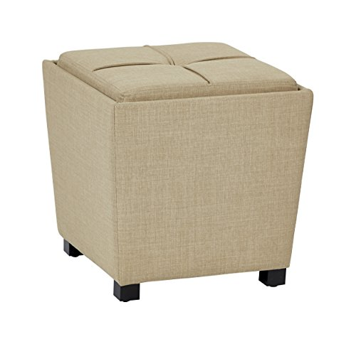 Office Star Metro Fabric 2-Piece Storage Ottoman Nesting Cube Set with Dark Espresso Finished Feet, Milford Maize - Metro Living Room Ottoman