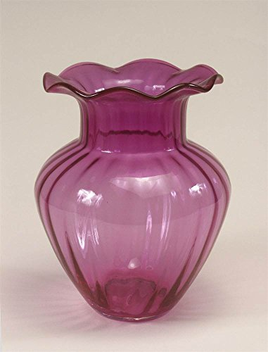 Glass Cranberry Vase (Ribbed Cranberry Glass Vase with Fluted Top)