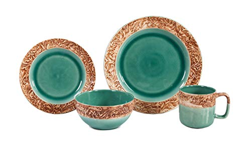 - HiEnd Accents Unisex Turquoise Wyatt Dinnerware Set 16 Pieces Turquoise One Size