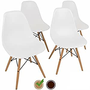 Eames Style Chairs by UrbanMod (Set Of 4). The 'Easy Assemble' Eames Chair Replica With ErgoFlex ABS Plastic And 'One Wipe Wonder' Cleaning! Comfortable White Dining Chairs Meets 5-Star Modern Chair