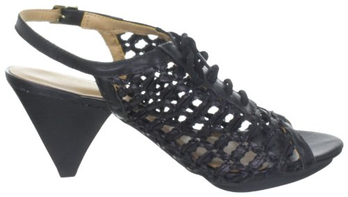 Via Uno Woven Synthetic Leather/Leather Noble, Women's Sandals Schwarz (Black/Black)