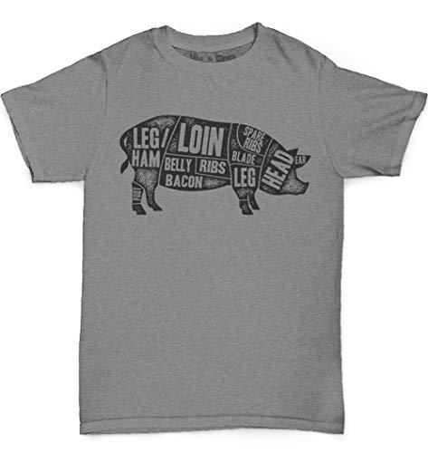 10oz apparel Men's Cuts of Pork Butcher T-Shirt (XL, Graphite Heather)