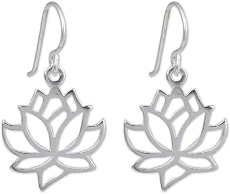 NOVICA .925 Sterling Silver Dangle Earrings 'Shining Lotus'
