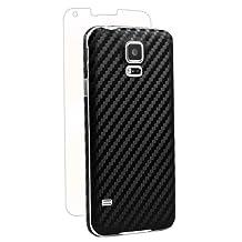 BodyGuardz BZ-ACBG5-414 Carbon Fiber Armor Stylish Skin Full Body Protector for Samsung Galaxy S5-Retail Packaging-Black
