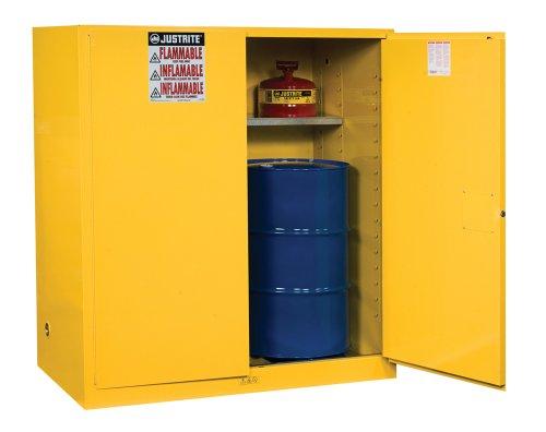 Justrite 899100 Sure-Grip EX Steel 2 Door Manual Vertical Drum Flammables Storage Cabinet with Drum Support, 110 Gallon Capacity, 59