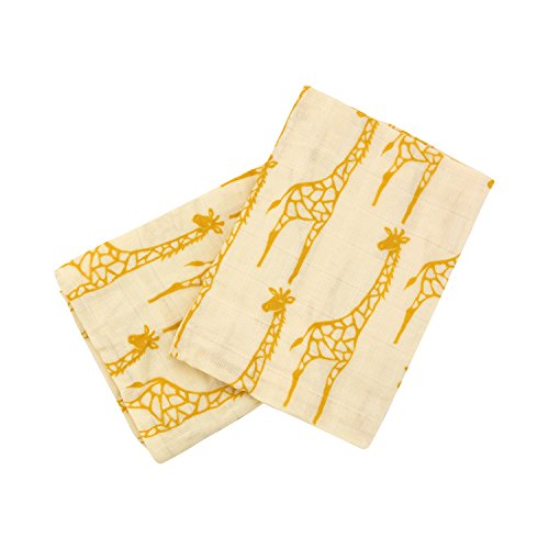 Milkbarn Organic Cotton Burp Cloths (2 pack) (Yellow Giraffe)