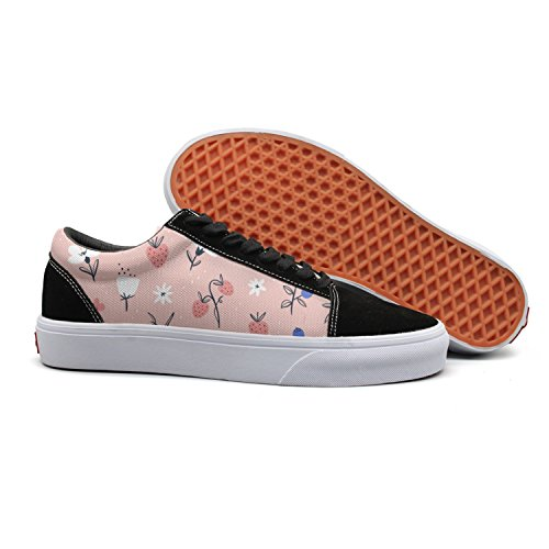 Low Pink for Womens On Shoes and Top Abstract Flowers Berries Sneaker Canvas Hip Feenfling Woman Denim Boat Hop nqga4PXww
