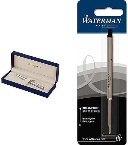 Waterman Hemisphere - Bolígrafo en caja de regalo (mecanismo de apertura de giro), acabado en acero inoxidable cromado + Waterman S0553640 - Recambio para bolígrafo de bola, color negro: Amazon.es: Oficina y papelería