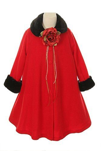 Cozy Fleece Long Sleeve Cape Jacket Coat - Red Girl 12 Co...