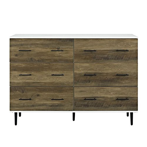 WE Furniture AZU52SV6DWRO 6-Drawer Reclaimed Dresser with Storage, White/Rustic Oak