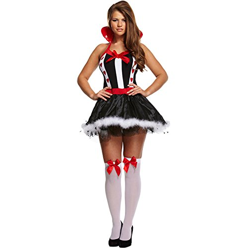 [Queen Of Hearts Fancy Dress Costume (Black/White/Red)] (Red And White Queen Costumes)
