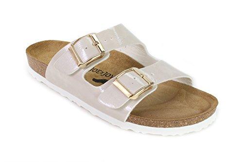 JOE N JOYCE Women London Soft-Footbed Hammertone SynSoft Sandals Slippers Narrow Beige