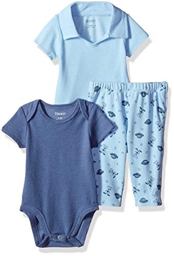 (Hanes Ultimate Baby Zippin Pants with Short Sleeve Crew and Polo Bodysuit Set, Light Blue 6-12)