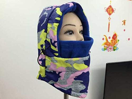 (Hitommy Motorcycle Thick Warm Face Mask Windproof Waterproof Hooded Fleece Caps - Royal Blue)