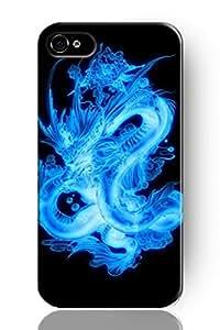 SPRAWL New Vintage Design Personalized Hard Plastic Snap on Slim Fit Iphone 4 4S Case Shine Blue Dragon
