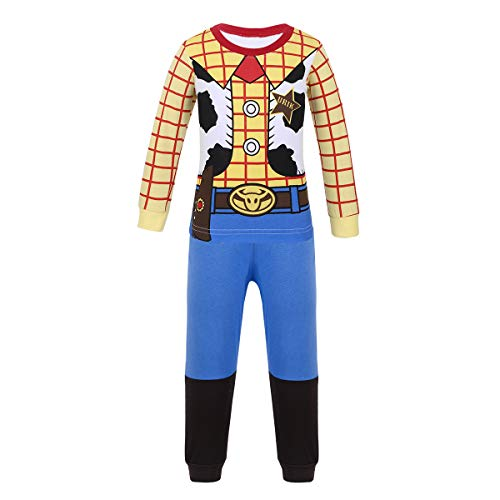 ACSUSS Kids Boys Girls Halloween Cosplay Costumes Toy Story Cowboy Outfits Cartoon Pajamas Set Sleepwear Yellow 7-8 -