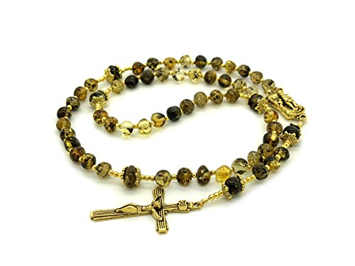 Genuine Baltic Green Amber Catholic Prayer Rosary with Crucifix Cross