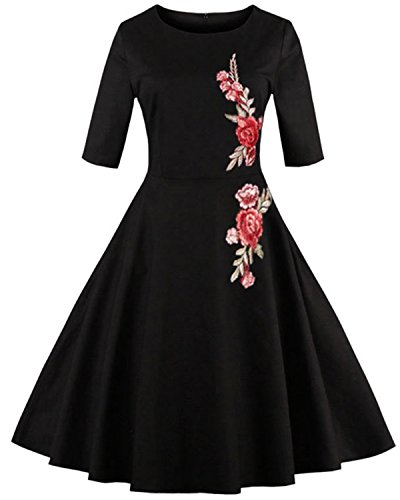 Round Pleated Skirt (ZAFUL Women 1950's Vintage Floral Embroidery Dress Round Collar Half Sleeve Rockabilly Swing Dress(Black,M))