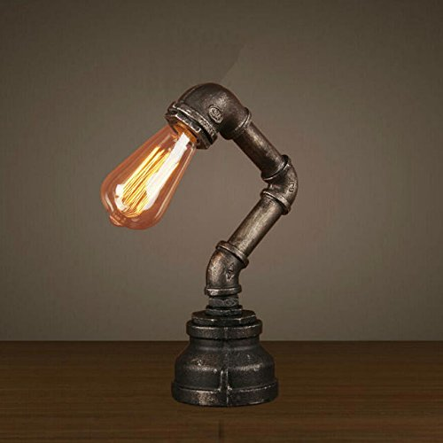 Perfectshow Retro Loft Minimalist 1-Light Rustic Water Pipe Table Lamp Bedside Home...