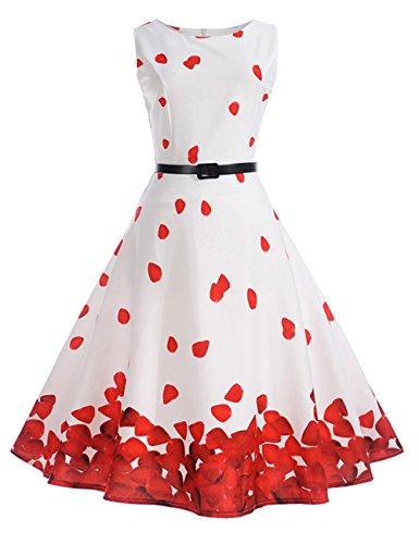 HUINI Vintage Kleid Blumen 50er 60er Retro Rockabilly Swing Kleider Geblümt  Cocktailkleid Ärmerllos Sommer Partykleider Gürtel 1ef4afcac3