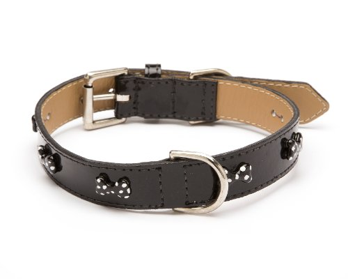 LV Bone Dot Straight Dog Collar, Small Size 9-11, Black Patent with Black Enamel Bones