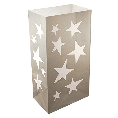 Lumabase 49024 24 Count Silver Stars Luminaria Bags ()