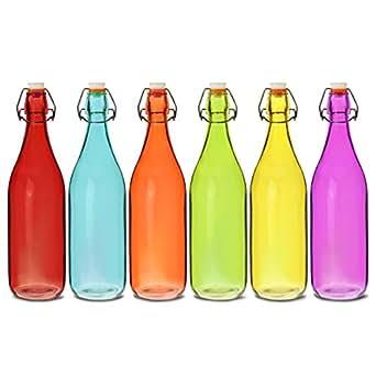 Botellas de cristal de colores con cierre hermético de 1