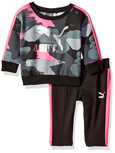 PUMA Baby Girls' Pullover Fleece Set, Black, 6-9M