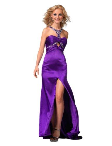 Clarisse Jeweled Halter Prom Dress with Slit 1555, Purple, 6