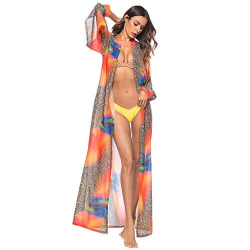 Women's Long Sleeve Casual Leopard Print Loose Beach Smock Tops Dress Cardigan Orange