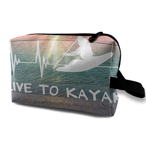 Lvxinghzd I Live to Kayak Heartbeat Best Portable Travel Makeup Cosmetic Bags Organizer Multifunction Case Toiletry Bags