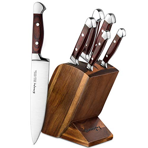 (Knife Set, 6 Piece Kitchen Knife Set with Block Wooden, Chef Knife Set, German Stainless Steel, Emojoy (Germen)