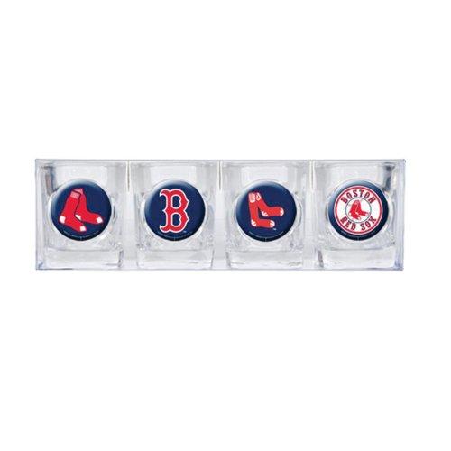 Boston Red Sox - 4 Piece Square Shot Glass Set w/Individual Logos ()