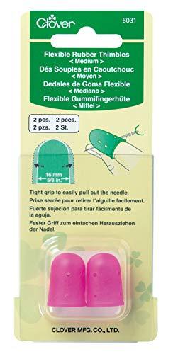 Clover 6031 Flexible Rubber Medium Thimble, Pink 2