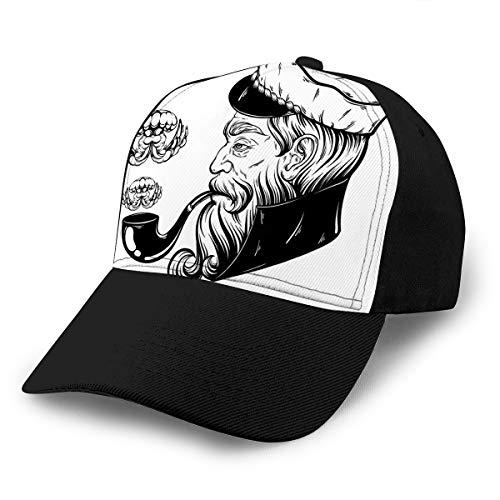 Classic Hat Unisex Portrait of Captain Tobacco Pipe Jelly Fish Adult Baseball Cap (Pipe Tobacco Virginia)