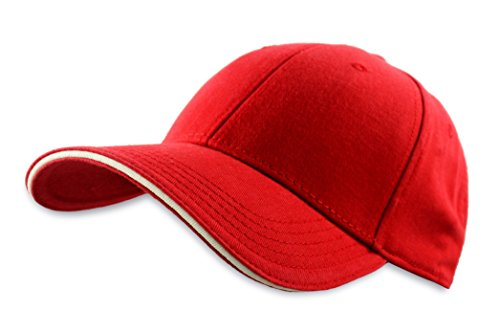 Dorfman Pacific Co. Men's Structured Twill Cap with Sandwich, Red/White, One ()
