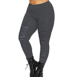 Uribake Fashion Womens Casual Leggings High Waist Plus Size Sexy Hole Trousers Yoga Sport Pants Gray