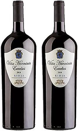 Vino Tinto Viña Herminia Excelsus 2018 de 75 cl - D.O. Rioja - Bodegas Grupo Caballero (Pack de 2 botellas)