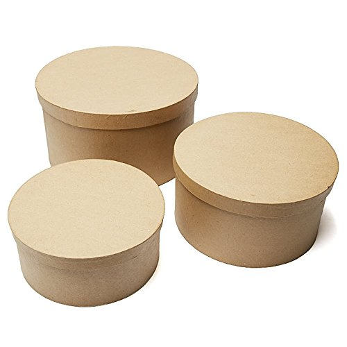 Factory Direct Craft Handcrafted Paper Mache Large Round Boxes - 3 Boxes ()