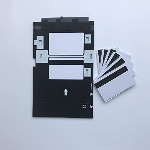 Inkjet PVC ID Card with HiCo Mag Stripe + 1pc ID Card Tray For Epson L800,L805,A50,T50,P50,R280 (10) ()